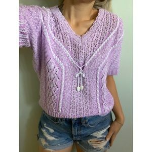 Vintage Lilac purple and white knit tee shirt